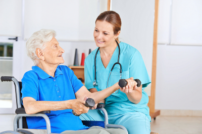 elderly woman doing physical therapy