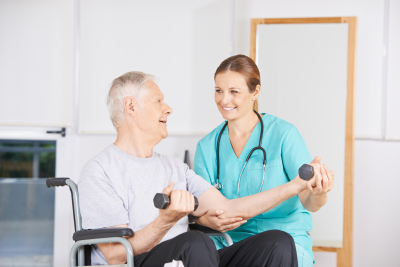 elderly man doing physical therapy